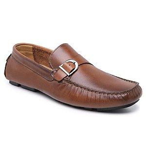 Sapato Drive Mocassim Masculino em Couro Whisky Confortável