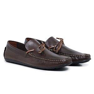 Sapato Mocassim Masculino em Couro Legítimo Marrom