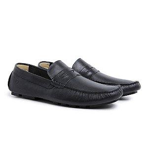 Sapato Masculino Drive em Couro Preto Confortável