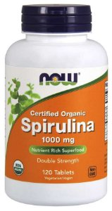 Spirulina 1000 mg 120 Tablets, Certified Organic NOW Foods