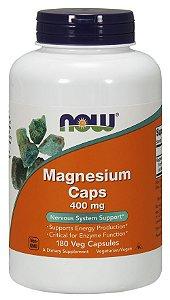 Magnesio Magnesium Caps 400mg 180 Veg Capsulas NOW Foods