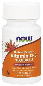 Vitamina D3 10000 IU 120 Softgels NOW Foods