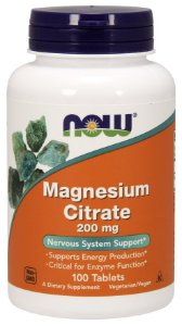 Magnesio Magnesium Citrate 200 mg 100 Tablets NOW Foods