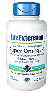 Super Omega 3 com Sesame Lignans e Olive Extract 240 softgels LIFE Extension