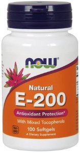 E 200 IU Mixed Tocopherols 100 Softgels NOW Foods