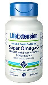 Super Omega-3 EPA / DHA com Sesame Lignans & Olive Extract 60 caps LIFE Extension