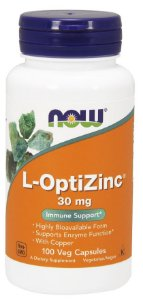 L OptiZinc 30 mg 100 Veg Capsules NOW Foods