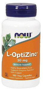 L OptiZinc 30 mg 100 Veg Capsules NOW Foods