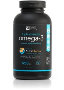 OMEGA 3 FISH OIL ALASKAOMEGA 1250MG Sports Research 180 softgels FRETE GRATIS