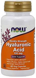 Hyaluronic Acid Ácido hialuronico Double Strength 100 mg 60 Veg Capsules NOW foods