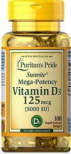 Vitamina D3 5.000 IU 100 caps PURITANS Pride