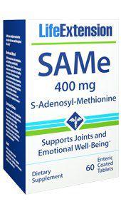 SAMe S-Adenosyl-Methionine 400 mg 60 enteric coated tablets LIFE Extension FRETE GRATIS