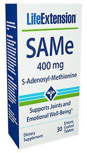 SAMe S-Adenosyl-Methionine 400 mg 30 enteric coated tablets LIFE Extension FRETE GRATIS