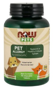 Pet Allergy for Dogs e Cats para cães e gatos 75 Chewable Tablets NOW Pets