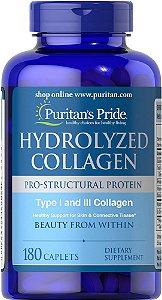 Hydrolyzed Collagen Colageno hidrolizado 1000 mg 180 caplets PURITANS Pride