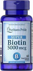 Biotin SUPER Biotina 5000 mcg 60 softgels PURITAN S Pride