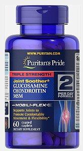 Glucosamina e Condroitina Triple Strength com MSM 60 Caplets Puritans