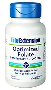 Optimized Folate 1000mcg 100 veg tablets LIFE Extension