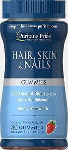Hair Skin e Nails Cabelo, pele e unha  80 balas de gomas de morango PURITANS Pride