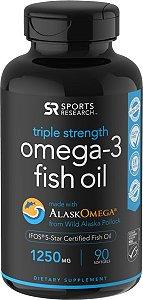Omega 3 óleo de peixe Fish Oil 1250mg 90 softgels SPORTS Research