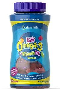 Omega 3 Kids com vitamina D3 120 gummies PURITANS Pride