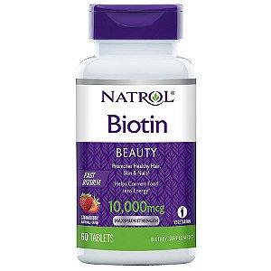Biotina 10000 mcg Fast dissolve 60 tablets sublingual sabor: morango NATROL