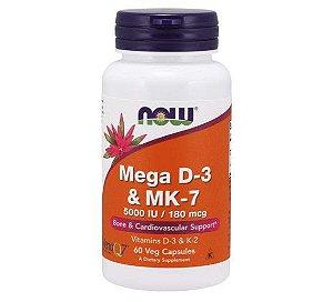Mega D-3 & MK-7 60 Veg Capsules NOW Foods