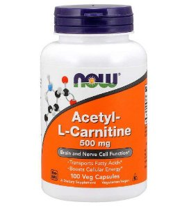 Acetyl L Carnitine 500mg 100 veg capsules NOW Foods
