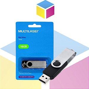 Pen Drive Multilaser Twist 16gb Preto | USB 2.0 PD588 |