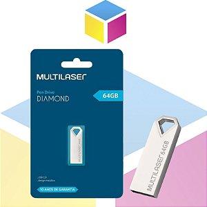 Pen Drive Multilaser Diamond 64gb Preto | USB 2.0 PD852 |