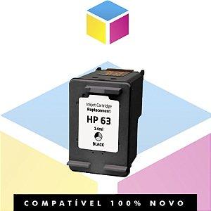 Cartucho de Tinta Compatível HP 63 Preto | F6U62AN J6U69A K4T93A F5S43A | 14ml