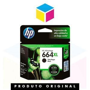 Cartucho de Tinta HP 664 XL 664 Preto F 6 V 31 AB F 6 V 31 A | 1115 2136 3636 3836 3536 4676 | Original 8,5ml