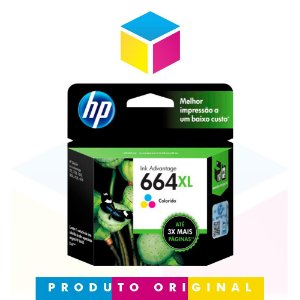 Cartucho de Tinta HP 664XL 664 Colorido F6V30AB F6V30A | 1115 2136 3636 3836 3536 4676 | Original 8ml