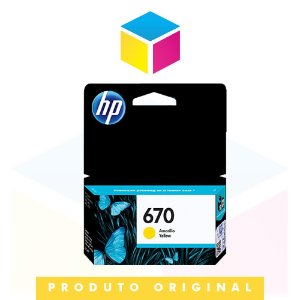 Cartucho de Tinta HP 670 CZ 115 AB Amarelo Yellow | Original HP | 3,5ml