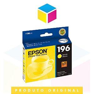 Cartucho de Tinta Epson original 196 T 196 T 196420 Amarelo Yellow ||XP 101 XP 201 XP 401 XP 411 XP 204 XP 214 WF 2532 WF 2512  | 4ml