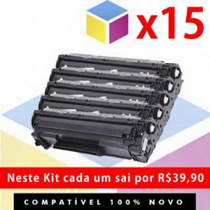 Kit com 15 Toner Compatível HP CF 283 A 83 A Preto | M 127 FN M 127 FW M 127 M 125 M 201 M 225 M 226 M 202 | 1.5K
