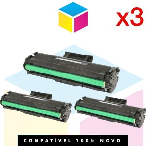 Kit com 3 Toner Compatível Samsung MLT-D111 D111S Preto| M2020 M2020FW M2070 M2070W M2070FW | 1K