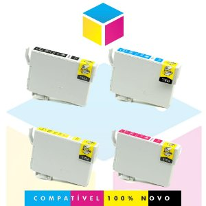 Kit com 4 Cartuchos de Tinta Epson 196 Preto + Ciano + Magenta + Amarelo | XP401 XP411 WorkForce 2532 | Compatível