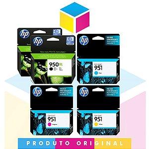 Kit 2 Cartucho HP 950 xl Preto 53 ml + 1 HP 951 Ciano 8 ml + 1 HP 951 Magenta 8 ml + 1 HP 951 Amarelo 8 ml | Officejet 8610 8620 8100 8600 Plus 8630 950 | Original