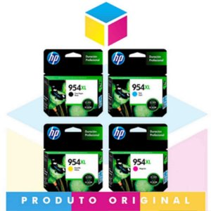 Kit HP 954 XL Preto 42,5 ml + HP 954 XL Ciano 20 ml + HP 954 XL Magenta 20 ml + HP 954 XL Amarelo 20 ml | 8700 8710 8715 8720 8716 8725 8210 8740 | Original