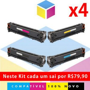 Kit Toner Compatível HP CB 540 A Preto + HP CB 541 A Ciano + HP CB 542 A Amarelo + HP CB 543 A Magenta | CP 1518 CP 1215 CM 1312 CP 1510 CP 1515