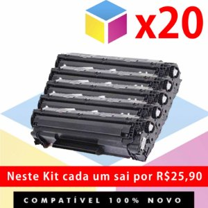 Kit com 20 Toner COMPATÍVEL HP CE 285 A, 85 A, 285 A, CE 285 AB | P 1102, P 1102 W, M 1132, M 1210, M 1212, M 1130 |1.8k
