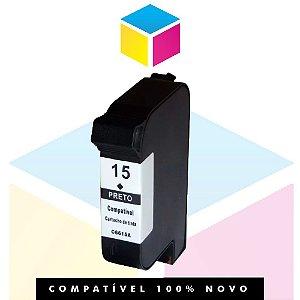 Cartucho de Tinta Compatível com HP 15 C 6615 NL Preto | Deskjet 710 C PSC 500 Deskjet 810 C | 38ml
