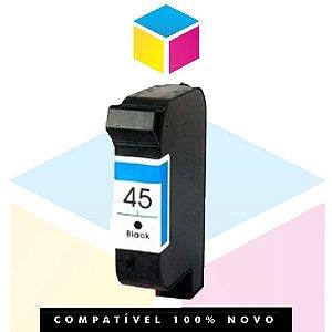 Cartucho de Tinta Compatível HP 645 45 51645 AL Preto | Deskjet 6122 720 C 930 C 932 C 950 C | 38ml