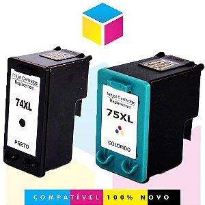 Kit HP 74 PRETO Compatível 25 ml + HP 75 COLORIDO Compatível 14 ml | CB336WB CB338WB | J5780 C4280 C4480 D4260 C5280