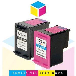 Kit HP 122 XL PRETO Compatível 13 ml + HP 122 XL COLORIDO Compatível 13 ml | CH 563 HB CH 564 HB | 1010 1512 4502