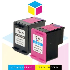 Kit HP 122 PRETO Compatível 13 ml + HP 122 COLORIDO Compatível 13 ml | CH563HB CH564HB | 1010 1512 4502