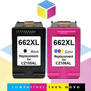 Kit PRETO Compatível 662 11 ml + HP 662 COLORIDO Compatível 10 ml | 1015 1510 1518 2516 2546 2646 3516 | CZ105AB