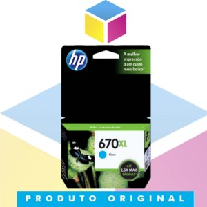 Cartucho De Tinta HP 670 XL CZ 118 AB Ciano | Original HP | 7,5 ML