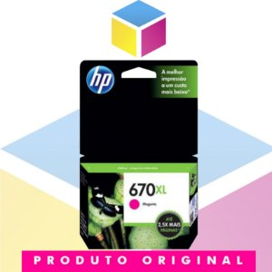 Cartucho De Tinta HP 670 XL CZ 119 AB Magenta | Original HP | 8 ML
